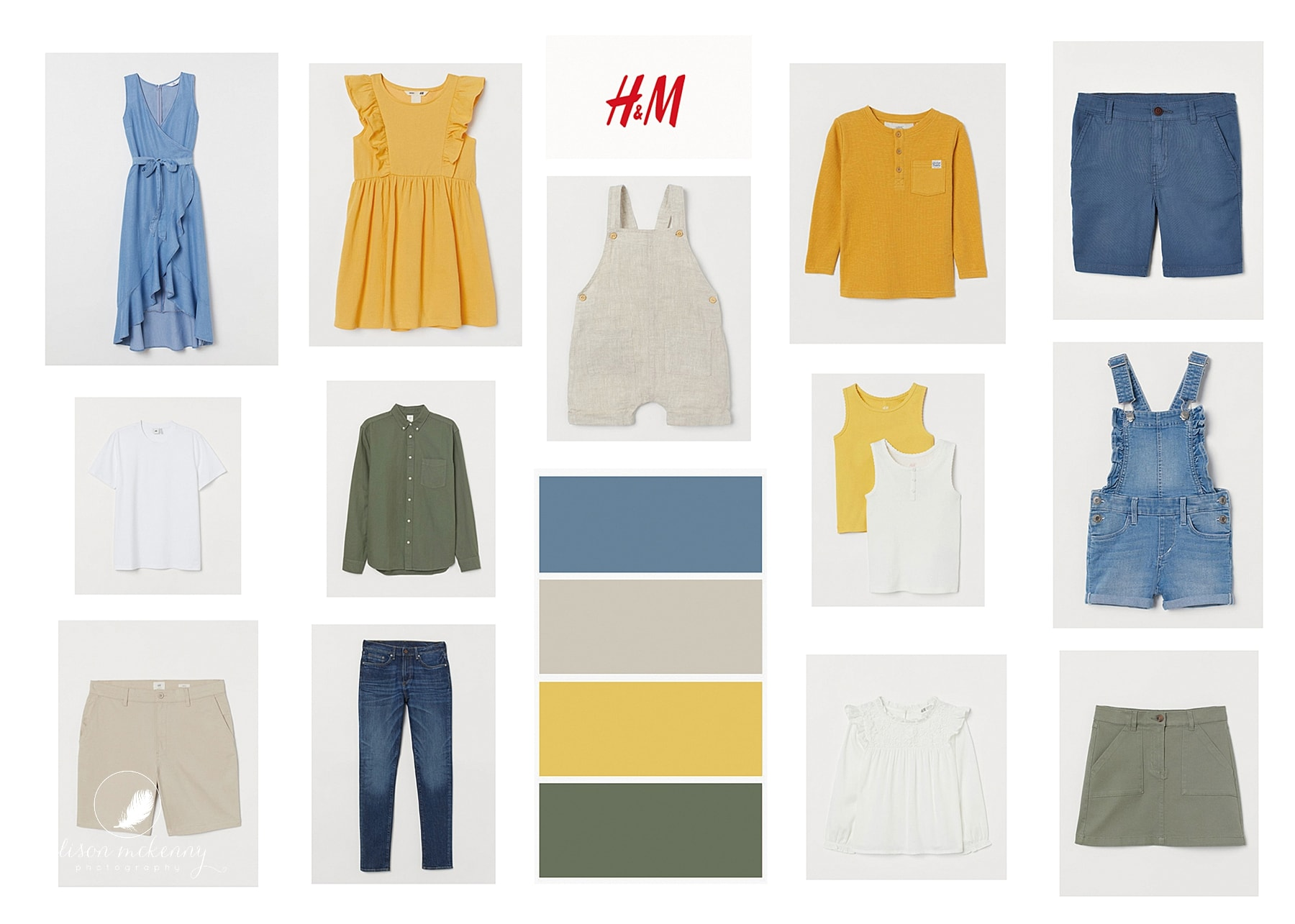 Family clothes in Yellow, blue, green and beige for a photoshoot in suffolk