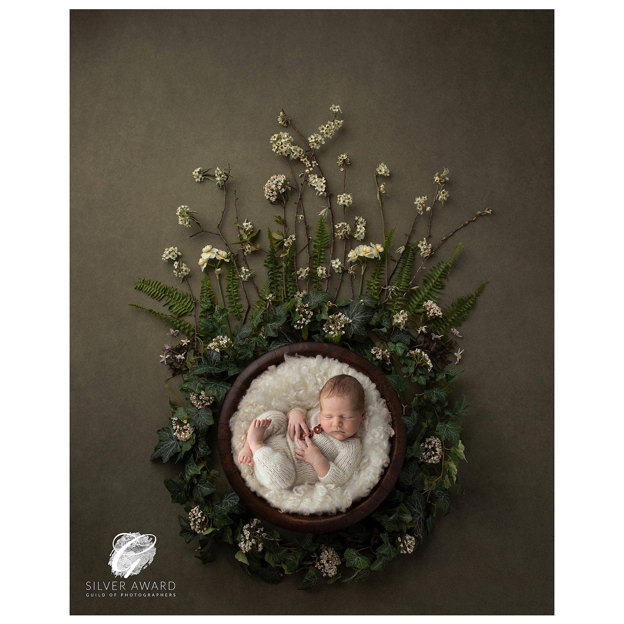 Photograph of a newborn baby in a wooden bowl on an olive green floral backdrop wins a Silver Award with the Guild of Photographers