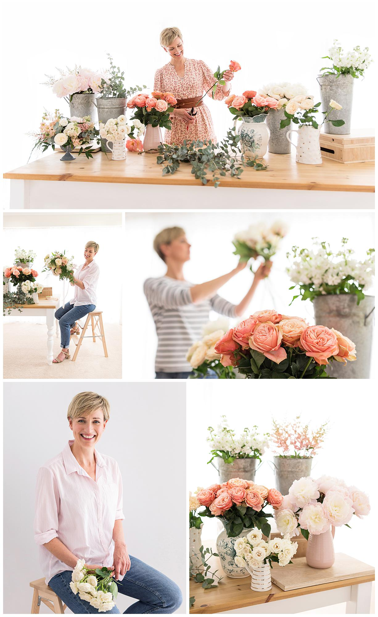 Collage of personal branding images of a Florist holding roses and peonies in Suffolk