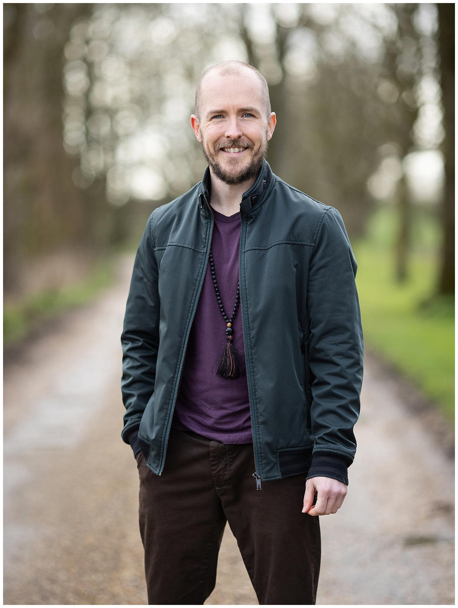 Personal Branding Headshot of a man standing on a country lane in Stoke By Clare, Suffolk