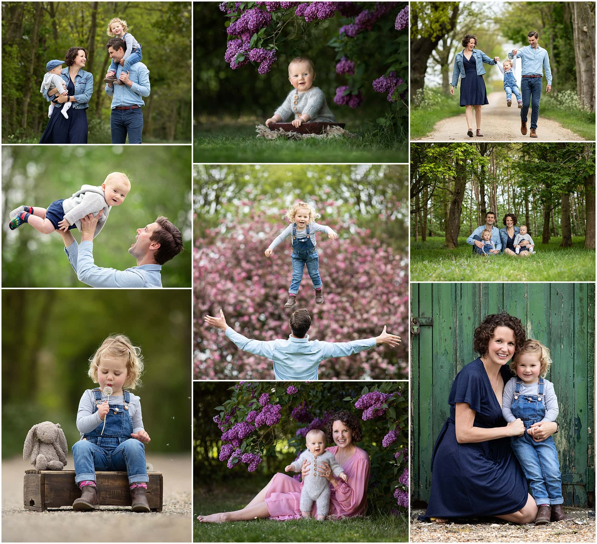 Collage of Family Photographs from a family photoshoot in suffolk