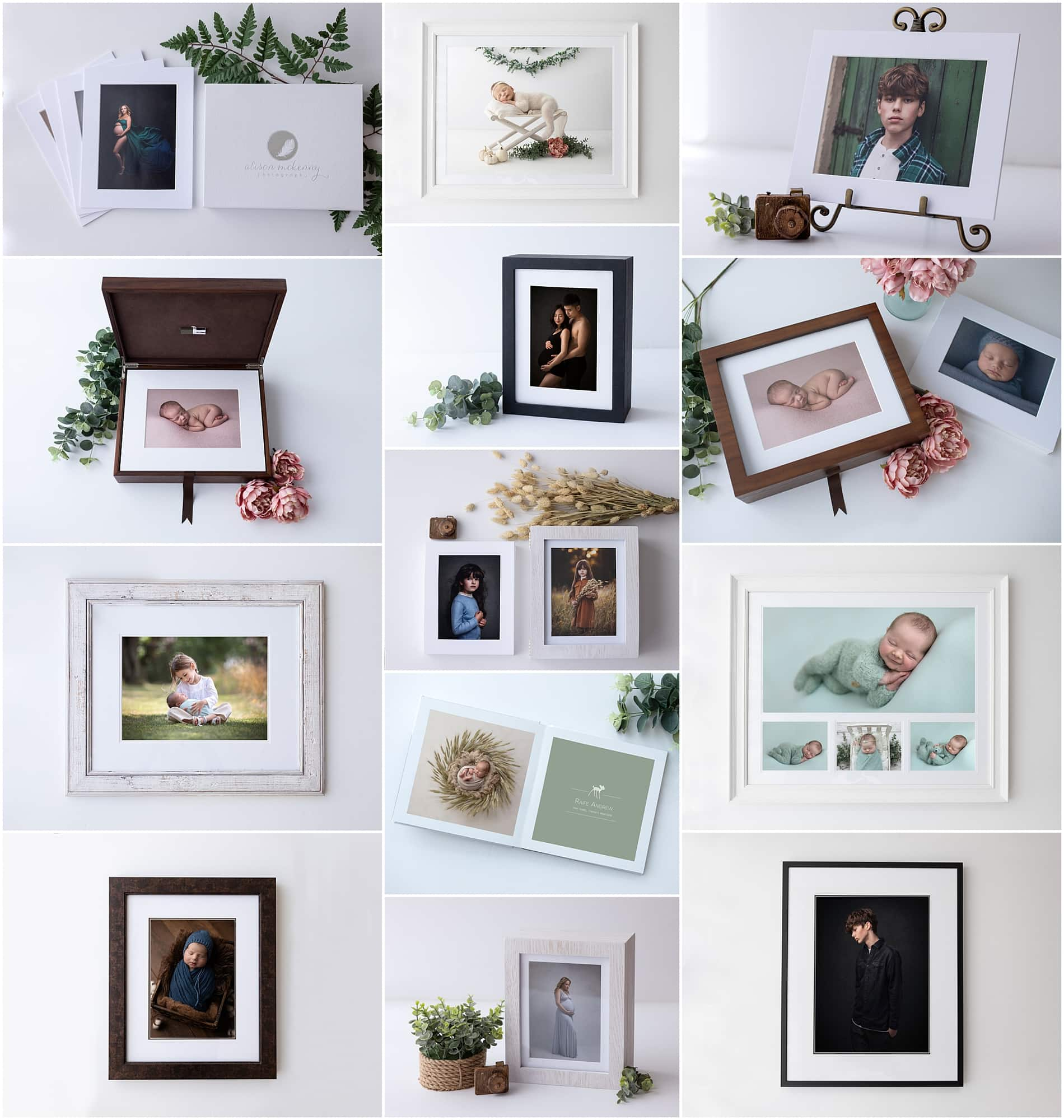 Selection of images of Alison McKenny's Luxury Wooden Folio Boxes and Wall Art