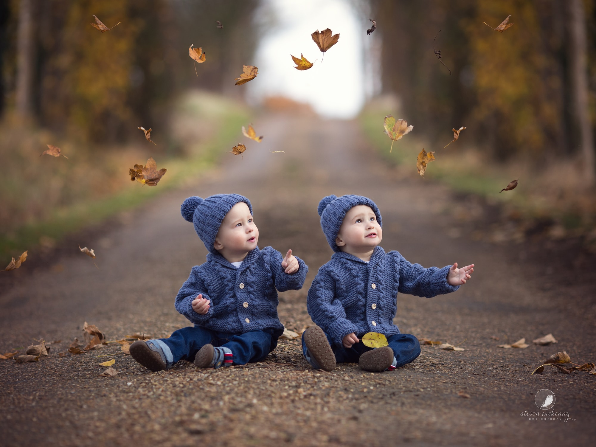 Twin toddlers in blue woolen jumpers and hats watch the autumn leaves fall