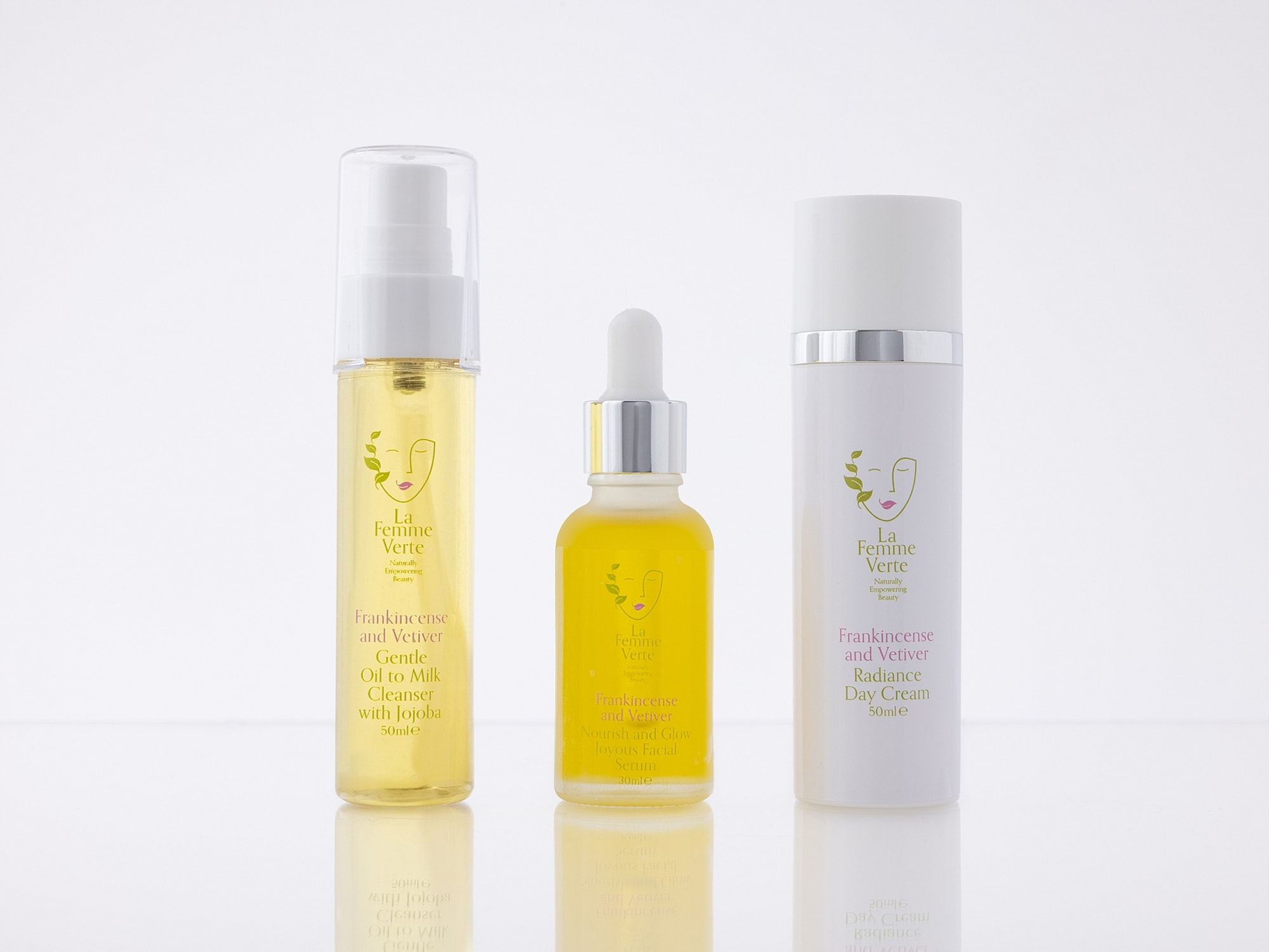La Femme Verte Skin Care Products on a white background